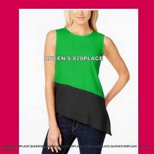 Calvin Klein Womens XL Green Asymmetrical Tank NWT